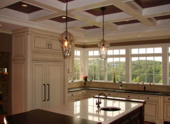 Kitchen addition with a coffered ceiling