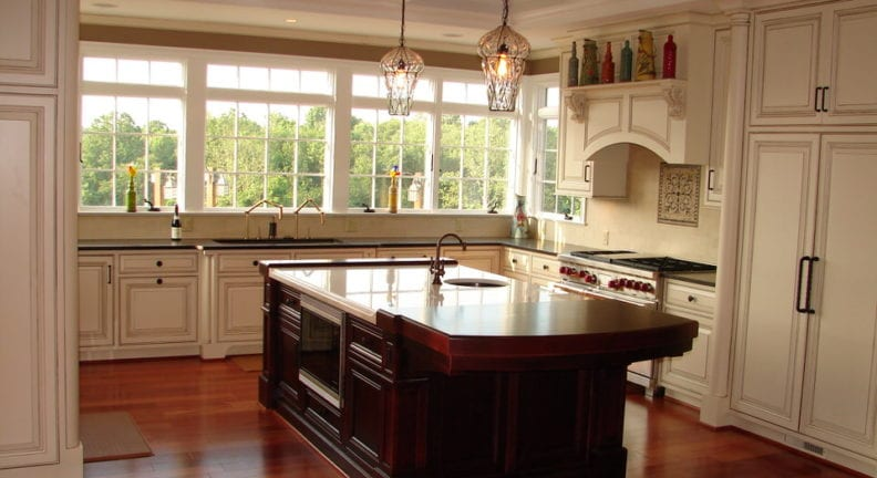 Potomac kitchen addition with a coffered ceiling