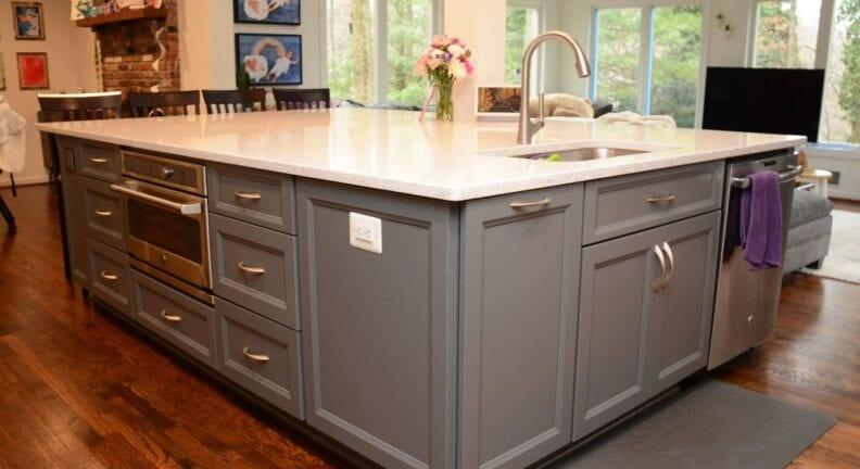 large kitchen island remodel in Potomac