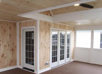 Finished interior of screened in porch
